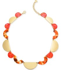 """alfani gold-tone & marble-look collar necklace, 19-1/2"""" + 3"""" extender, created for macy's"""
