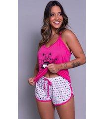 pijama feminino serra e mar modas short doll estampado pink - pink - feminino - poliã©ster - dafiti