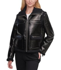 calvin klein faux-leather sherpa-trim jacket