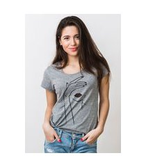 camiseta feminina mirat gloss face mescla