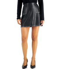 bar iii studded faux-leather mini skirt, created for macy's