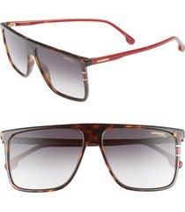 men's carrera eyewear 145mm flat top sunglasses - havana/ red