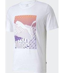 camiseta puma cat box branca masculina
