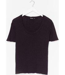 womens knit's kinda cute ribbed tee - black