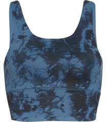 dyi women's elevate printed yoga sports bra - chambray tie dye x-small