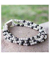 obsidian beaded bracelet, 'midnight tears' (mexico)