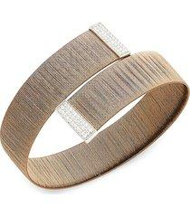 saks fifth avenue women's 18k tri-tone diamond bypass bangle bracelet
