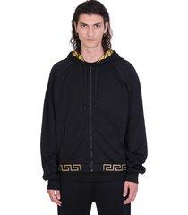 versace sweatshirt in black polyamide