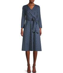 lafayette 148 new york women's penelope series striped faux-wrap dress - royal blue - size 14