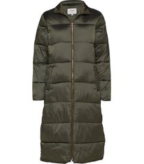 gaiagro long jacket gevoerde lange jas groen cream