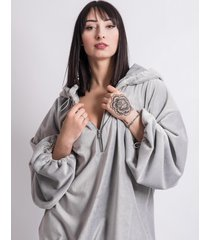 bluza oversize silver fluffy hoodie