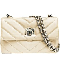 badgley mischka women's mini chevron-quilted faux leather crossbody bag - red