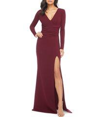 women's dress the population carmen long sleeve v-neck gown, size x-small - burgundy