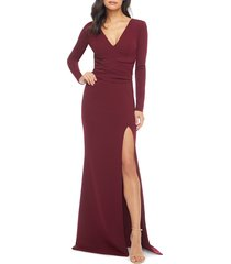 women's dress the population carmen long sleeve v-neck gown, size x-small - burgundy