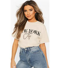 petite leopard city slogan oversized t-shirt, stone
