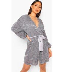 mini jurk met pailletten, lange mouwen en ceintuur, grey