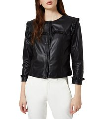 new curl faux leather jacket