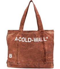 a-cold-wall* distressed printed tote - brown