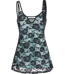 buckled overlay lace cami tank top