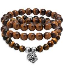 anthony jacobs men's 3-piece stainless steel & tiger's eye bracelet set