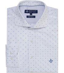 camisa dudalina fio tinto maquinetada masculina (branco, 6)