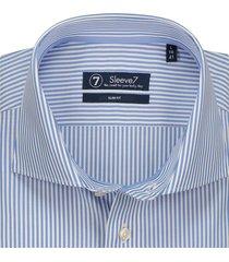 sleeve7 heren overhemd lichtblauw pinstripe poplin slim fit