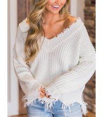 detalles de borlas blancas suéter de manga larga con cuello en v