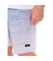 bermuda calvin klein swimwear masculina d'água logo sky azul índigo