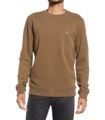 allsaints raven slim fit crewneck sweatshirt, size x-large in woodland brown at nordstrom