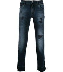 dolce & gabbana destroyed jeans - blue