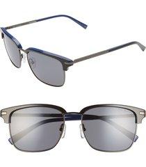 men's ted baker london 55mm polarized browline sunglasses - grey tortoise