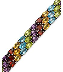 sterling silver bracelet, multistone three row
