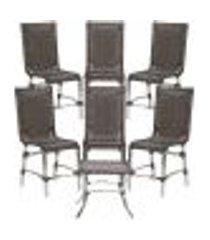 jogo cadeiras 6un e mesa de centro sevilha para edicula jardim area varanda descanso - pedra ferro