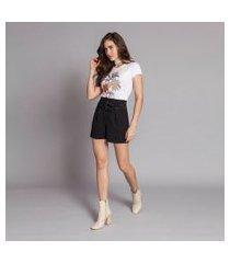 lez a lez - shorts cintura alta cinto duplo preto reativo