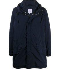 aspesi hooded mid-length parka - blue