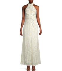 staud women's coastal daisy ruched halterneck dress - white yellow - size 6