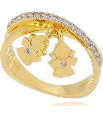 anel drusi cravejado com pingente meninas dourado