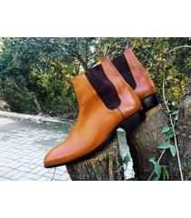handmade chelsea tan leather ankle boots, forma casual men formal dress boots