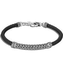 'classic chain' sterling silver leather station bracelet
