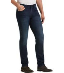 joseph abboud dark blue vintage wash slim fit french terry jeans