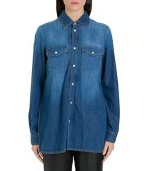 red valentino denim shirt with pleated back