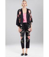 peony paradise bed jacket, women's, black, 100% silk, size xs, josie natori
