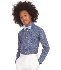 tommy hilfiger big boys 2-pc. stretch floral-print dress shirt & geo bow tie set