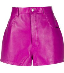 fushia lamb leather shorts