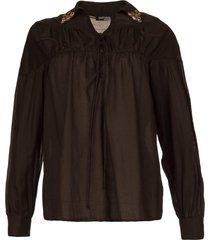 blouse met versierde kraag desy  zwart