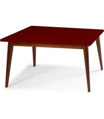 mesa de madeira retangular 180x90 cm novita 609-3 cacau/bordo - maxima