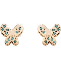 orecchini farfalla in acciaio rosè e cristalli verdi per donna