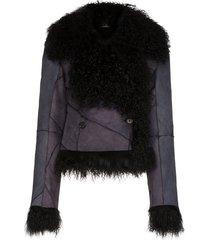ann demeulemeester panelled shearling jacket - black