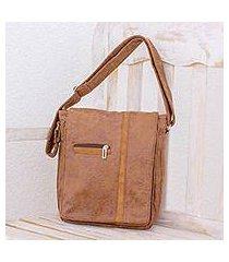 faux leather messenger bag, 'tica lands' (costa rica)