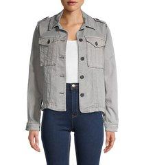 kensie women's piper trucker jacket - cloud - size m